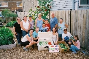 Volunteers show their appreciation for a grant from Gardenburger